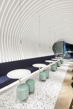 Terrazzo - Terrazzo is making a major comeback in Although this trend may not be the first thing that springs to mind when you think of a design trend Design Café, Bar Interior Design, Design Exterior, Restaurant Interior Design, Commercial Interior Design, Design Studio, Cafe Design, Commercial Interiors, Modern Restaurant