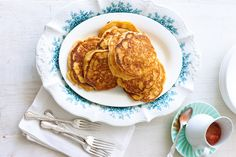 Fluffy and not too sweet, these pancakes are made with quinoa flour for a great gluten-free brunch option.