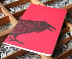 letterpress notebook Crow recycled. $15 via Etsy.