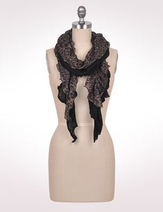 Accessories | Scarves & Wraps | Double-Layer Leopard Ruffle Scarf | dressbarn