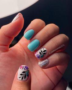 Cute Gel Nails, Chic Nails, Get Nails, Love Nails, Hair And Nails, Chic Nail Designs, Nail Stamping Designs, Daisy Nails, Semi Permanente