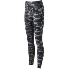 Women's SONOMA Goods for Life™ Camo Leggings (155 DKK) ❤ liked on Polyvore featuring pants, leggings, grey, gray leggings, camo cuff pants, camouflage pants, camoflauge pants and grey pants