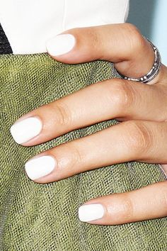 June nails, Manicure by summer dress, Nail designs for short nails, Summer nails 2016, White dress nails, White gel polish, White nails ideas