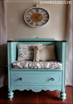 Turn a Junk Shop Dresser into a gorgeous Bench with a vintage twist. Get the Tutorial on our site.