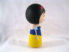 Simply Snow White Wood Peg Kokeshi Doll Holiday by knottingwood