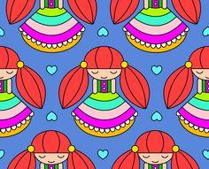 Kinder Mädchen Stoff von fummelhummel auf stoffn.de Sandra Thissen bunt blau rot pink grün türkis lila rosa beige gelb orange weiß Herzen Kleid Girl Prinzessin retro Sandra Thissen