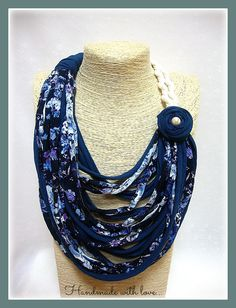 Blue floral t-shirt yarn necklace- scarf necklace- textile jewelry- ecofriendly- upcycled necklace- handmade- boho- accessories- cotton cord by veniakriezia on Etsy