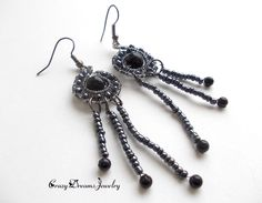 REPIN NOW for later :) New to CrazyDreamsJewelry on Etsy: Silver Gray Wire Wrapped Long Earrings With Blue Goldstone Boho Valentine Earrings Romantic Fairy Earrings Unique Earrings Wire Jewelry (33.00 USD)