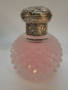 Antique Sterling Silver Cut Glass Perfume Scent Bottle Repousse Hinged Lid | eBay