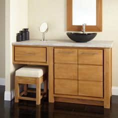 "60"" Venica Teak Vessel Sink Vanity with Makeup Area"