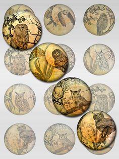 Owl Moon Ephemera Botanical Digital Collage Sheet Rounds Circles JPEG Images Plus Bottle Cap Art, Bottle Cap Crafts, Bottle Cap Images, Vintage Printable, Orange Moon, Owl Moon, Resin Pendant, Vintage Ephemera, Collage Sheet