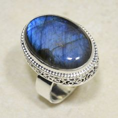 Twinkling Blue Oval Labradorite Vintage Carving 925 Silver Ring Size 7 | eBay