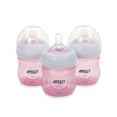 AVENT Natural 4-Ounce Bottle in Pink (3-Pack)