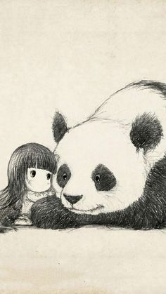 Pandas are my Spirit Animal ♥ Image Panda, Panda Kawaii, Cute Panda Drawing, Panda Lindo, Panda Illustration, Panda Wallpapers, Bear Art, Spirit Animal, Easy Drawings