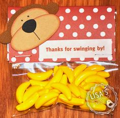 monkey baby shower: Thanks for swinging by. not loving the saying but not thinking of anything better Baby Shower Gift Bags, Baby Shower Treats, Baby Shower Parties, Twin Baby Shower Theme, Baby Boy Shower, Jungle Theme Parties, Jungle Party, Jungle Gym, Safari Party