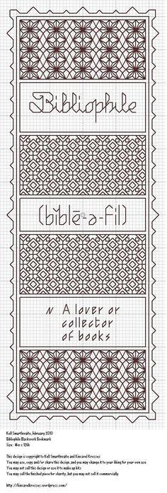 Bibliophile Blackwork Bookmark