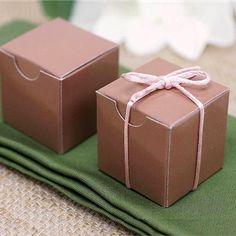 """100 PCS 2"""" x 2"""" Mocha Bridal Shower Party Favor Gift Boxes"""
