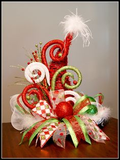 Whimsical Santa's Hat - grapevine wreath and cone with decorative ribbons and picks! Luxury Christmas Tree, Cone Christmas Trees, Christmas Bows, Christmas Tree Toppers, Christmas Crafts, Christmas Ornaments, Xmas, Grinch Christmas Decorations, Christmas Arrangements