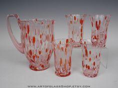 Kralik Bohemian Art Deco set of 4 pink glass tumblers & jug