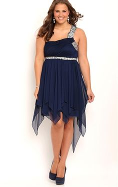 Plus Size One Shoulder High Low Homecoming Dress with Stone Trim