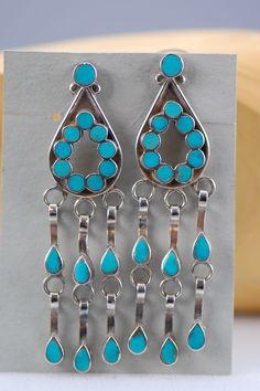 Navajo – Inlaid Turquoise Sterling Silver Earrings by Lucy Cayatineto