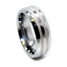 Amazon.com: Blue Chip Unlimited - 8mm Tungsten Carbide Two Brushed Satin Lines Mens Wedding Band Engagement Ring Fashion Band (Available in Sizes 4-17): Jewelry