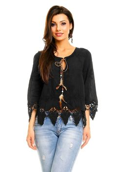 BOHO SOMMER BLUMEN FRANSEN TOP BLUSE OBERTEIL TUNIKA DAMEN SCHWARZ SPITZE FEDERN Ruffle Blouse, Style Inspiration, Boho, Long Sleeve, Sleeves, Clothes, Shoes, Fashion, Black Laces
