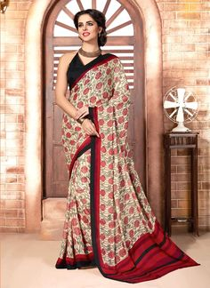 Shop latest online sarees collections at best price. Order this preferable print work casual saree for casual and party.