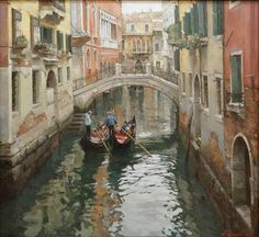 Paintings Azat Galimov.Venice in winter. The morning news.