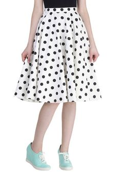 Sway Hello Skirt - Long, Cotton, White, Black, Polka Dots, Daytime Party, Pinup, Vintage Inspired, 50s, Fit & Flare, Rockabilly, Top Rated