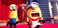 """It won't be difficult to spot an homage to a Van Halen classic in """"Minions,"""" an animated comedy premiering today across the country. Metallica, Minions, Minion Movie, Van Halen, Paper Background, Playing Guitar, Ronald Mcdonald, Comedy, Merry"""
