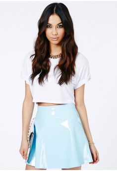 Missguided - Milusia PVC Skater Skirt In Baby Blue