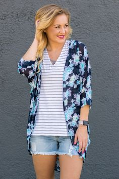 Floral large print navy chiffon cardigan from Lush Fashion Lounge                                                                                                                                                                                 More