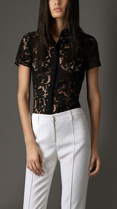 Burberry London Fitted #Lace Shirt. #fashion