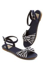 Tatyana/Bettie Page One Woman Cabana Sandal in Navy | Mod Retro Vintage Sandals | ModCloth.com