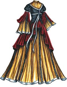 Liana's Dolls  A dramatic golden gown with a red and black overdress. The golden underdress has long, bell-shaped sleeves with white satin ribbon at the he...