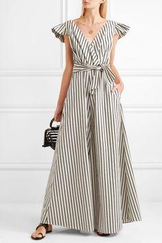 ae0408b1d84 PAPER London - Maya wrap-effect striped canvas jumpsuit