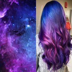 Galaxy Hair Color, Vivid Hair Color, Cute Hair Colors, Pretty Hair Color, Hair Dye Colors, Rainbow Hair Colors, Unique Hair Color, Fun Hair Color, Rainbow Dyed Hair
