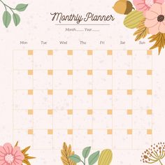 Monthly planner with autumn floral background Premium Vector Monthly Calendar Template, Diy Calendar, Print Calendar, Monthly Planner, Planner Pages, Wedding Calendar, To Do Lists Printable, Printable Planner, Self Care Bullet Journal