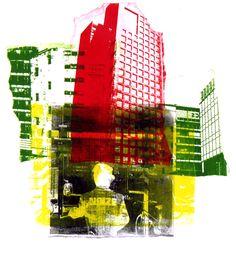 City art in graphic collage print from photo - monotype & mono-print, Hilly van Eerten City Landscape, Urban Landscape, Creative Landscape, Architecture Collage, Space Architecture, City Collage, Collage Art, Art Alevel, Graphic Art Prints