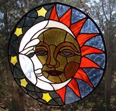 Performing Arts Guild Stained Glass Sun and Moon by Patti Van Horn