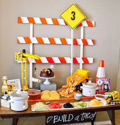 Construction birthday party table set up. Taco bar-build your own taco