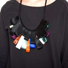 Tribal Tape Jewelry - Lauren Manoogian Creates Statement Necklaces From Paperclips and Vinyl (GALLERY)