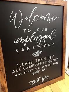 ordershewrotenyc.com Unplugged ceremony sign chalkboard wedding Unplugged Wedding Sign, Wedding Ceremony Signs, Wedding Signage, Our Wedding Day, Wedding Chalkboards, Wedding Ideas, Wedding Bells, Wedding Stuff, Dream Wedding