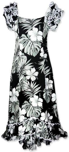 67b3d570c22 Waikiki Black Hawaiian Meaaloha Muumuu Dress with Sleeves