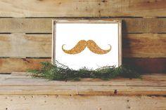 Gold Mustache, Glitter Mustache Print, Gold Wall Decor, Gold Nursery Art, Mustache Print, Salon Decor, Gold Art, Mustache Download