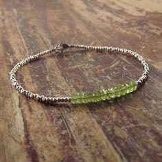Peridot Bracelet Karen Hill Tribe Silver Beads August Birthstone Bracelet Green Gemstone Bracelet Woman's Bracelet Beaded Beadwork Stone by TwoFeathersNY on Etsy https://www.etsy.com/listing/78820287/peridot-bracelet-karen-hill-tribe-silver