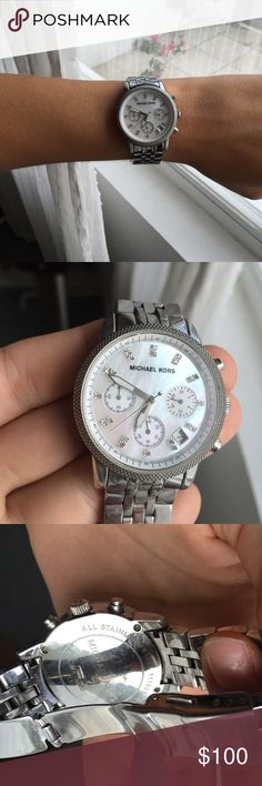 "Michael Kors watch No trades!!!! This has been worn in the past many times but is in wonderful condition! Sometimes it takes a few tries to get it to ""click"" but it's just because my wrist is big. You probably won't need links to make it bigger..lol. Needs a new battery! Michael Kors Bags"