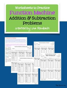 Function Machine (Addition and Subtraction problems) Worksheets to use after you have taught your students how to solve function machine problems (2 sheets with 6 sets of problems, 1 customizable sheet, 1 customizable homework sheet) $