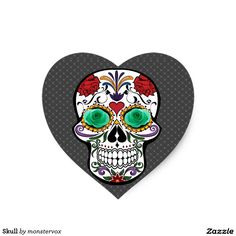 Skull Heart Sticker #Skull #Bone #Skeleton #Flower #Rose #Holiday #Halloween #Sticker #Heart